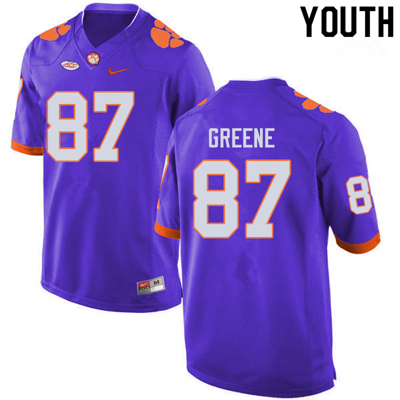 Youth #87 Hamp Greene Clemson Tigers College Football Jerseys Sale-Purple